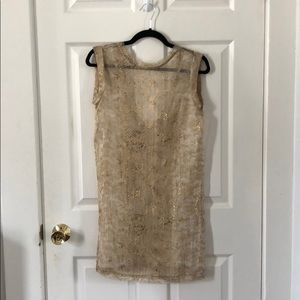 Rachel Roy sheer gold snakeskin printed dress
